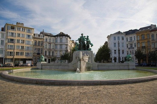 Fountain on the Lambermontplaats, Antwerp, Belgium : Stock Photo
