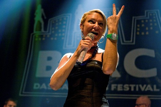 Belgian singer Kate Ryan live at the Barcity in Huttwil, Switzerland : Stock Photo