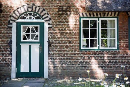 Entrance door of a traditional friesian building, Keitum, Sylt, Germany : Stock Photo