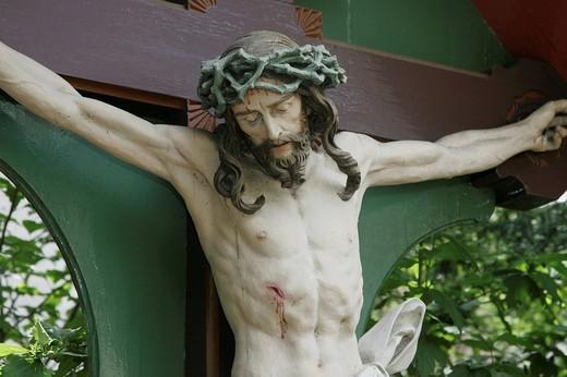 Cross, church of pilgrimage, Leutershausen, Baden_Wuerttemberg, Germany : Stock Photo