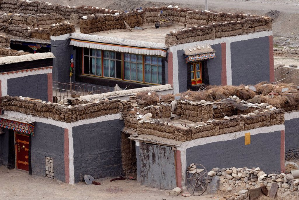 Tibetan house in Sakya style with Tibetan painting and yak dung for burning material drying on the compacted clay flat roofs, Sakya, Central Tibet, Tibet, China, Asia : Stock Photo