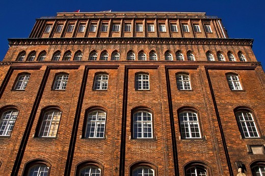 Historic Patriotic Society brick building, Trostbruecke Bridge, Hamburg, Germany, Europe : Stock Photo