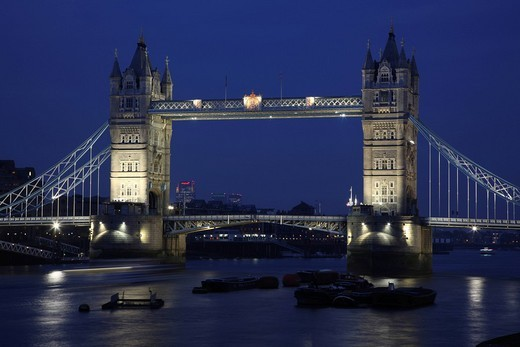 Tower Bridge, boat on the River Thames, London, England, Great Britain, Europe : Stock Photo