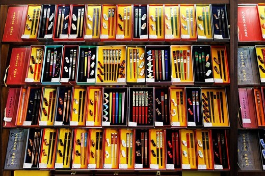 Display of Chinese chopsticks, Hongkong, China, Asia : Stock Photo