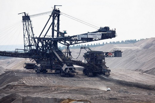 Brown coal digger, Hambach Tagebau, Rhein_Erft_Kreis, North Rhine_Westphalia, Germany : Stock Photo