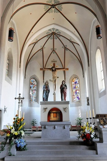 Stock Photo: 1848-146817 Altar area, parish church of St. Peter and Paul, Oberstaufen, Allgaeu, Bavaria, Germany, Europe