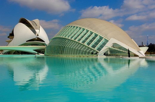 Stock Photo: 1848-146857 L´Hemisferic, by S. Calatrava, City of Arts and Sciences, Comunidad Valenciana, Valencia, Spain, Europe