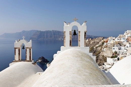 Stock Photo: 1848-147035 Bell towers of a chapel, Oia, Santorini, Greece