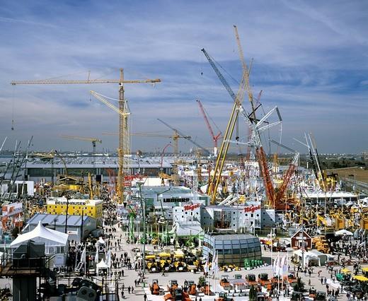 Exhibition center, BAUMA, construction cranes, Munich, Upper Bavaria, Germany : Stock Photo