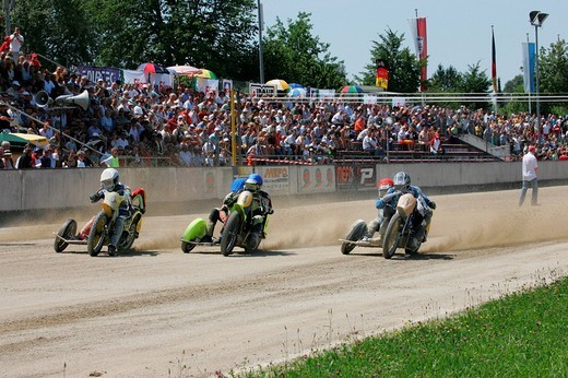 Sidecar motorcycles, international motorcycle race on a dirt track speedway in Muehldorf am Inn, Upper Bavaria, Bavaria, Germany, Europe : Stock Photo