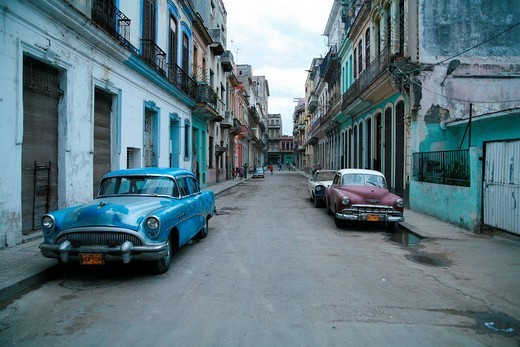 Stock Photo: 1848-147693 Vintage cars parked on a street in Havana, Cuba, Caribbean