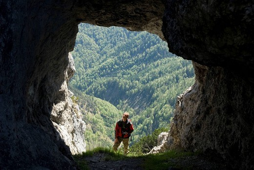 Cave on the Wasserklotz Mountain, Kalkalpen National Park, Upper Austria, Europe : Stock Photo