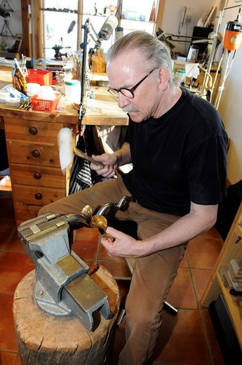 Matti Quick, silversmith artist in Inari, Lapland, Finland, Europe : Stock Photo