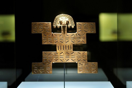 Stock Photo: 1848-148475 Pre_Columbian goldwork collection, jaguar as a symbol for the regenerative powers of gold and the Sun, Gold Museum, Museo del Oro, Bogotá, Colombia, South America