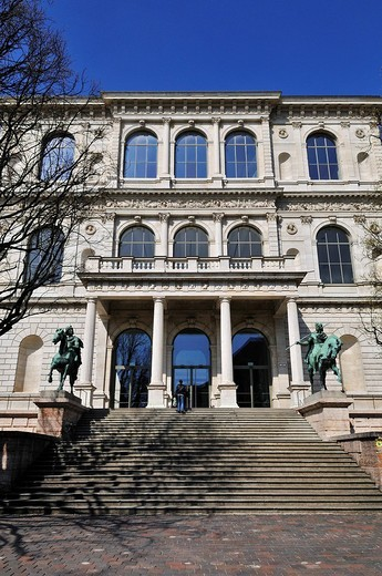 Academy of Fine Arts with riders equestrian statues of Castor and Pollux by Max von Widnmann, Munich, Bavaria, Germany, Europe : Stock Photo