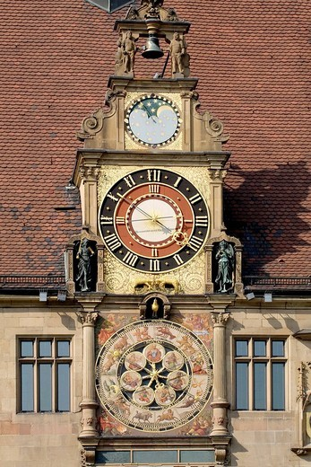 Astronomical clock by Isaak Habrecht, town hall, Heilbronn, Baden_Wuerttemberg, Germany : Stock Photo