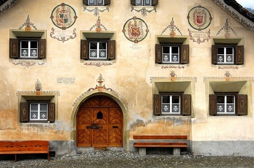 Windows of a typical Engadin house, Scuol, Lower Engadin, Grisons, Switezrland : Stock Photo