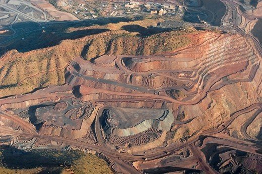 Stock Photo: 1848-149504 Argyle diamond mine, aerial view, Kimberley, Western Australia, WA, Australia