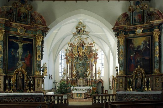 St. Georg Church altar with its Rosary Madonna, Auerberg, Bavaria, Germany, Europe : Stock Photo
