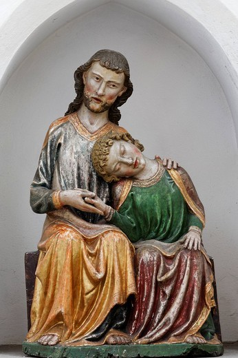 Stock Photo: 1848-149731 Carved Johannesminne dated 1310, in Heiligkreuztal Cathedral, Riedlingen, Upper Swabia, Baden_Wuerttemberg, Germany, Europe