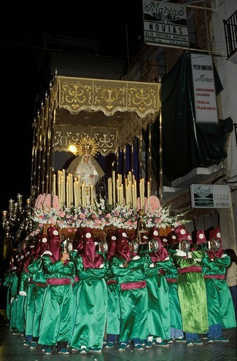 Semana Santa procession during Holy Week in Ronda, Málaga Province, Andalusia, Spain : Stock Photo