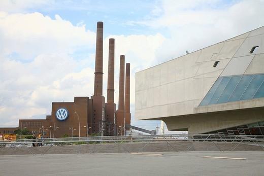 Volkswagen factory and Pheno, Wolfsburg, Lower Saxony, Germany, Europe : Stock Photo
