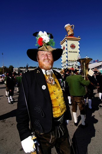 Man wearing a traditional costume in a procession, Wies´n, Oktoberfest, Munich, Bavaria, Germany, Europe : Stock Photo