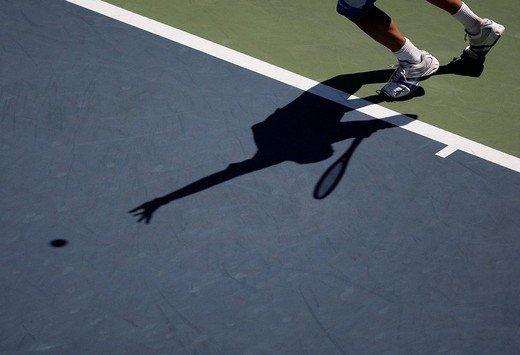 Stock Photo: 1848-150140 Players feet and shadow on tennis court, Grand Slam Tournament, US Open 2008, USTA Billie Jean King National Tennis Center, New York, USA