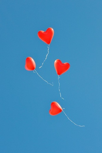 Stock Photo: 1848-150222 Red, heart_shaped balloons