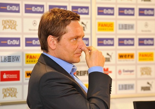 Manager Horst Heldt, VfB Stuttgart, thoughtful, Mercedes_Benz Arena, Stuttgart, Baden_Wuerttemberg, Germany, Europe : Stock Photo