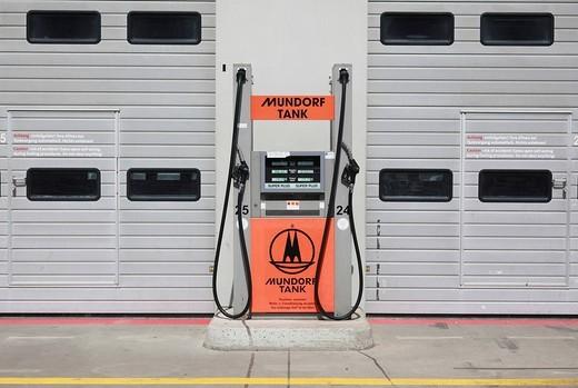 Mundorf tank, petrol pump in pit lane at the Nuerburgring race track, Rhineland_Palatinate, Germany, Europe : Stock Photo