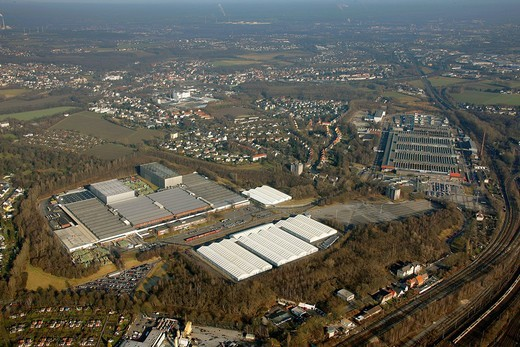 Aerial photo, OPEL Werk 3 and 2 Langendreer, Opel car factory plants 3 and 2, Bochum, Ruhr district, North Rhine_Westphalia, Germany, Europe : Stock Photo