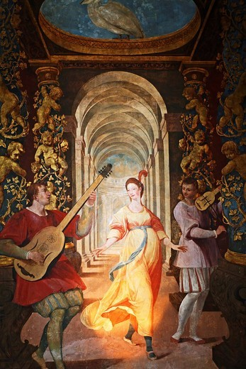 Stock Photo: 1848-151202 Musicians singing a little song to a beautiful lady, Italian wall painting, castle Hellbrunn, Salzburg, Austria
