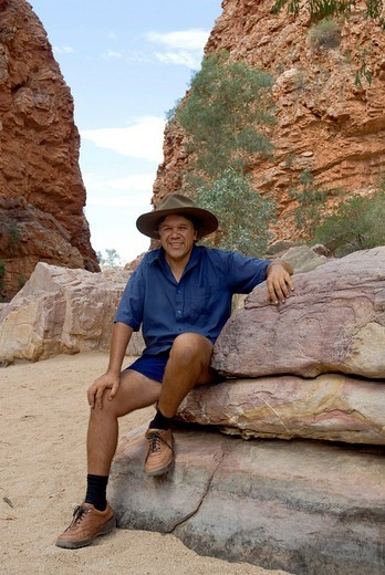 Stock Photo: 1848-151261 Bush walk with half aboriginal Bob Tailer, Simpsons Gap, West Mac Donell National Park, Alice Springs, Northern Territory, Australia