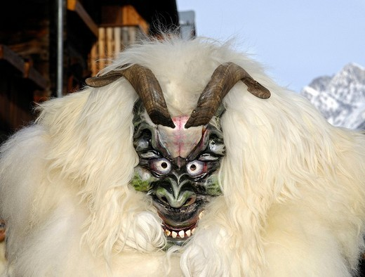 Stock Photo: 1848-151559 Sheep mask, Tschaeggaetae, Carnival masks, Wiler, Loetschental, Valais, Switzerland