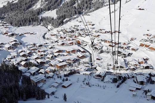 Stock Photo: 1848-15159 Lech, view from Ruefikopfbahn cable car, Vorarlberg, Austria, Europe
