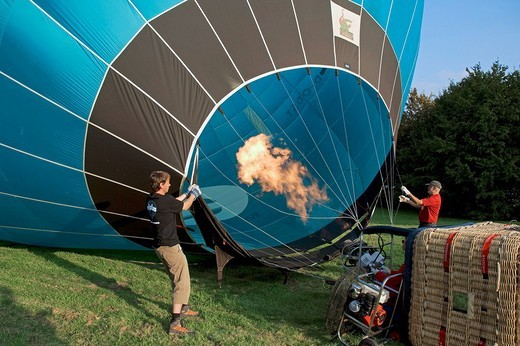Stock Photo: 1848-151720 Hot air balloon being filled with hot air, Montgolfiade Hot Air Balloon Festival, Muenster, North Rhine_Westphalia, Germany, Europe