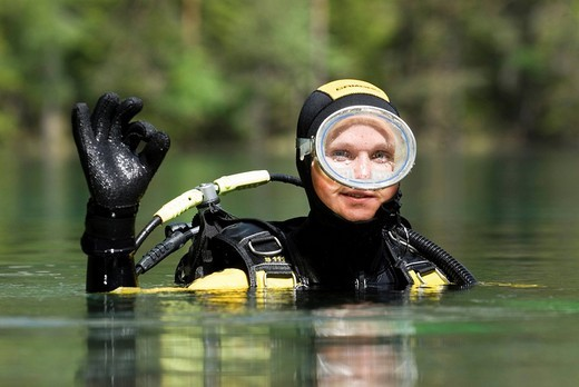 A female scuba diver : Stock Photo