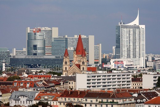 Francis_of_Assisi_Church and Donaustadt, Donau_City and Uno_City, seen from the giant wheel, Vienna, Austria, Europe : Stock Photo
