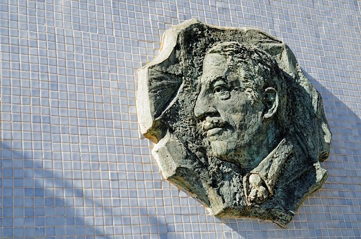 Stock Photo: 1848-152534 Memorial, head, relief, Alfonso Torres, mayor, Cartagena, Costa Calida, Murcia, Spain, Europe
