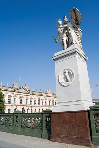 Schlossbrücke between Unter den Linden and Karl Liebknecht Street with a figure of Schinkel, arsenal of German Historical museum, Berlin, Germany, Europe : Stock Photo