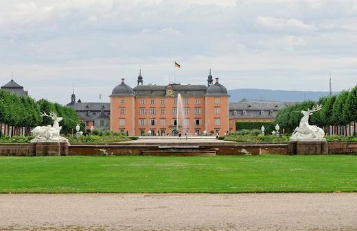 Stock Photo: 1848-152843 Baroque palace Schwetzingen, garden side with Arionbrunnen fountain and deer group, Schwetzingen, Baden_Wuerttemberg, Germany, Europe