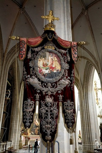 Cathedral of Our Lady, impressive catholic procession banner, antwerp, belgium : Stock Photo