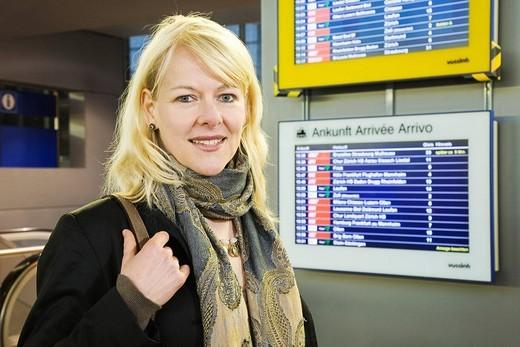 Singer Irish Benesch, main station Basel, Switzerland : Stock Photo