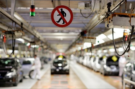 Control signal, Tiguan car production, VW Werk Wolfsburg, VW car factory Wolfsburg, Lower Saxony, Germany, Europe : Stock Photo