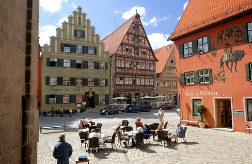 Stock Photo: 1848-154236 Gable roof house, Gasthaus zur Glocke Guesthouse, Deutsches Haus Guesthouse, Dinkelsbuehl, Middle Franconia, Bavaria, Germany, Europe