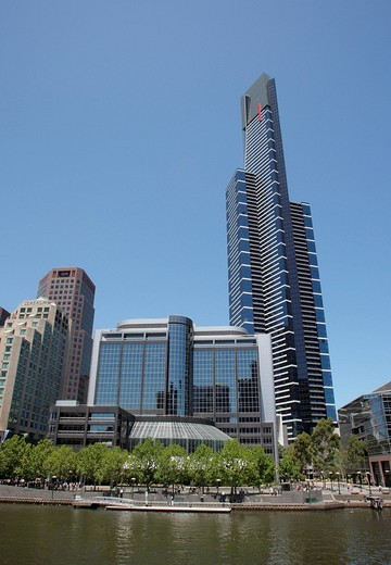 View of Southbank and Eureka Tower across Yarra River, Melbourne, Victoria, Australia : Stock Photo