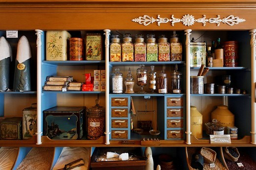 Stock Photo: 1848-154486 Historical grocer´s shop, first shop of Albert Heijn of the Dutch supermarket chain, open_air museum Zaanse Schans, province of North Holland, Netherlands, Europe