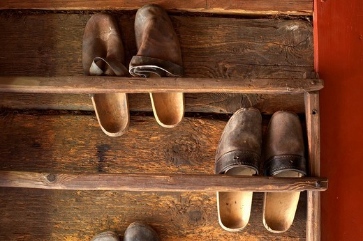Shoes, Maria Saal open air museum, Carinthia, Austria : Stock Photo