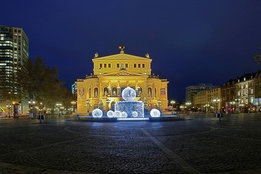 Alte Oper Old Opera with special christmas illumination of the fountain, Frankfurt, Hesse, Germany : Stock Photo